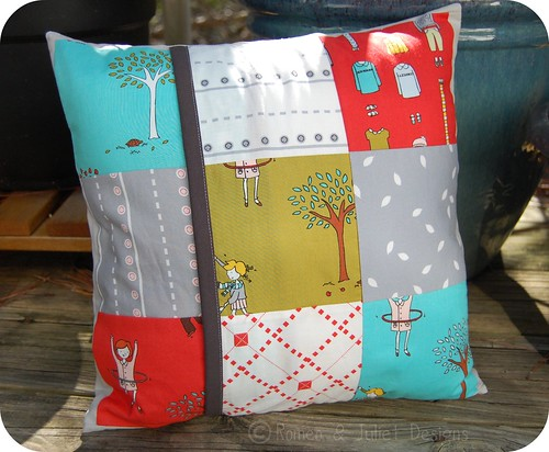 Little Apples Cathedral Window Pillow Back