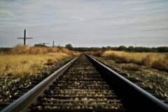 tracksperspective (davedehetre) Tags: railroad autumn trees sky cloud grass train track dof bokeh perspective experiment rail railway kansas vanishing