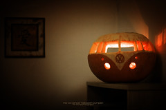 The VW Camper Halloween Pumpkin (Lee) Tags: bus halloween make car vw dark pumpkin lights scary october glow candle display carve spooky van camper 31st t1 campervan t2 allhallows 450d leeislee leeworrall vaulkswagen