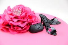 Fondant Handbag and Heels (Coco Jo Cake Design) Tags: hotpink glamourcake chocolatemudcake fantasyflower pinkandblackcake fondantheels handbagandheels springracingcake