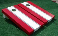 White & Red Matching Stripe Cornhole Boards