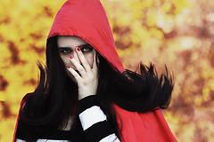 on fire (gioiadeantoniis) Tags: autumn red portrait fall girl self hair bokeh nail polish riding hood