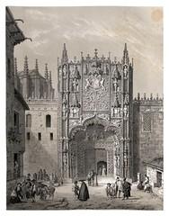 019-Portico del colegio de San Gregorio en Valladolid-España artística y monumental..Tomo II- 1842-1850-Genaro Perez de Villa-Amil