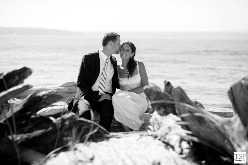 Bride and Groom on Beach in Driftwood