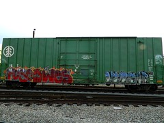 FOESWESHARSH (KNOWLEDGE IS KING_) Tags: railroad color tree art yard train bench one graffiti paint tracks railway socal boxcar panels burner bomb wes railfan freight harsh fill in rollingstock foes ibt