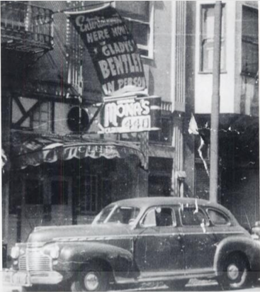 A night club with Gladys Bentley's name displayed as the entertainment