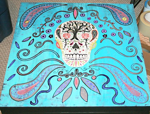 Sugar Skull on Turquiose   by Rick Cheadle Art and Designs