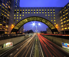 Citygate of the Hague / the Hague, the Netherlands (Niels Photography) Tags: city longexposure nightphotography urban holland rural lights highway traffic tripod nederland thenetherlands wideangle autobahn denhaag company commercial freeway lighttrails bluehour expressway jam urbanism canoneos thehague insurance hdr a12 stad offices manfrotto beltway lightstreams snelweg zuidholland nationalenederlanden longexposures sigma1020mm 500d urbanity cartrails ultrawideangle southholland rijksweg ringweg vertorama haagsehout rebelt1i nielskristianphotography