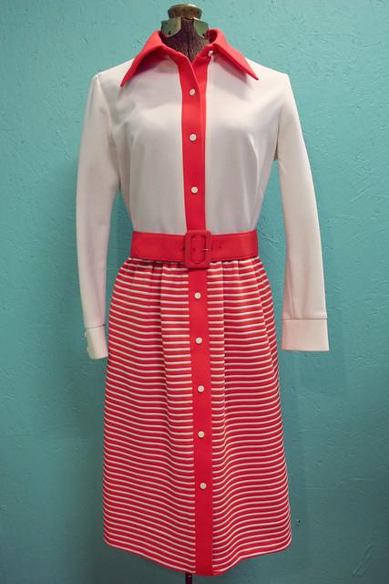 1960's polyester stripe dress