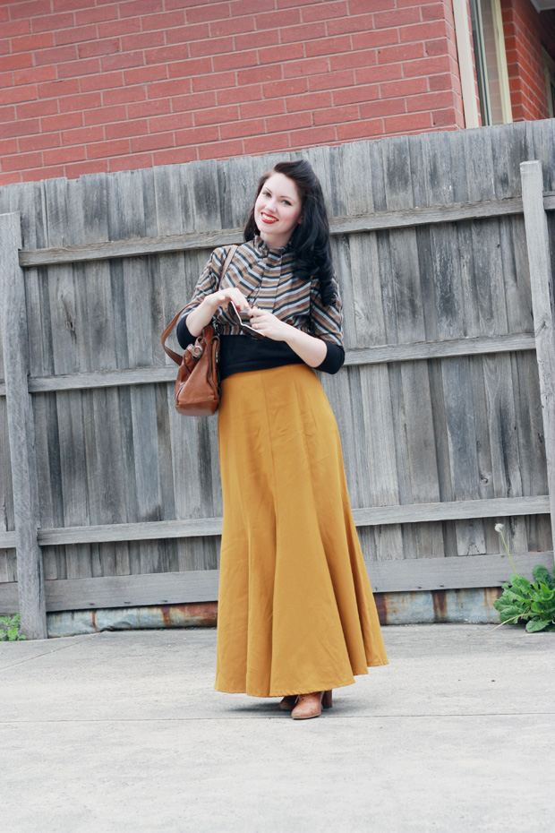 mustard long skirt a