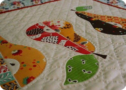three pears mini quilt - stitching