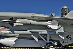 AIM-9 Sidewinder and AIM-7 Sparrow missiles (skyhawkpc) Tags: ca airplane nikon sandiego aircraft aviation navy missile naval usnavy usn allrightsreserved tomcat grumman 2011 d90 vf213 blacklions f14a nh205 ussmidwaymuseum 158978 aim9sidewinder aim7sparrow garyverver