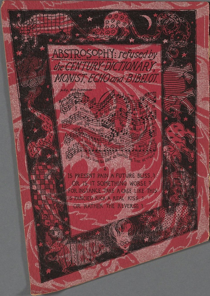 stylised sheet music / poem with border on red-patterned paper