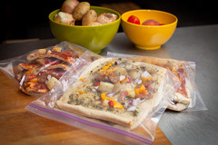 Bagged Pizza Lunches (Sandy Pell) Tags: cooking kitchen healthy eating sausage pizza busy preparing bulk savetime