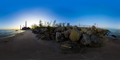 360VR Sunrise (Gregory Kemp Photography) Tags: morning ohio panorama beach water photoshop sunrise pier rocks lakeerie stitch pano sony 360 bluesky panoramic oh northeast vr greatlake lightroom a77 cubic ptgui equirectangular avonlake loraincounty 111211 360vr panoweaver