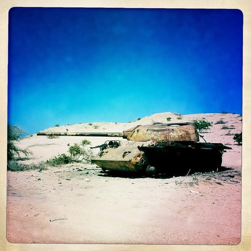 Russian tank on Berbera beach Somaliland  thru Iphone Hipstamatic