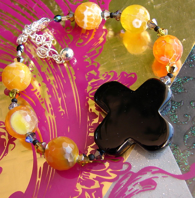 Yellow Agates & Shiny Agate Cross