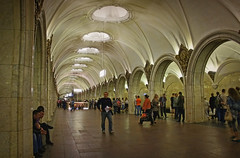 Aladdin's cave (aistora) Tags: city light urban classic public lamp station stone architecture bronze speed train underground symbol metro russia walk moscow interior space sony traditional transport arches palace ceiling busy elements transportation transit soviet commute airconditioned lamps marble hurry crowds climate pse lightroom airconditioning moskva  grandeur  nex palatial mockba maistora spaceous nex5
