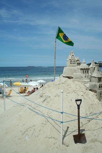 Sand Castle with Brazilian Flag