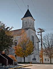Anchor Baptist Church~Biddeford, ME. (Vicki Lund Photography) Tags: city trees sky urban white streets church architecture buildings landscapes peeling paint raw photographer seascapes natural fineart maine citylife streetphotography photojournalism naturallight steeple powerlines baptist biddeford stumbleupon 2011 nikond90 vickilundphotography colorsnatural mystery~rides inneedofrepair copywrite wwwvickilundphotographycom