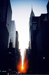 manhattanhenge (lorenzo please) Tags: sunset newyork analog lomo manhattan 42ndst manhattanhenge