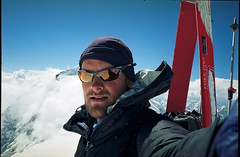 Solo on the summit of Pik Pobeda East (6762m, Tien Shan) (S_Peter) Tags: china ski film analog skiing extreme tian mountaineering analogue shan kyrgyzstan steep pik alpin tien pobedy alpinism bergsteigen pobeda kirgistan kirgisien