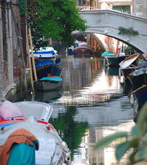 Venice - Reflecting on Another of the City's 177 canals! (antonychammond) Tags: city bridge venice italy water reflections boats canal soe flickraward reflectsobsessions mygearandme flickrstruereflection1