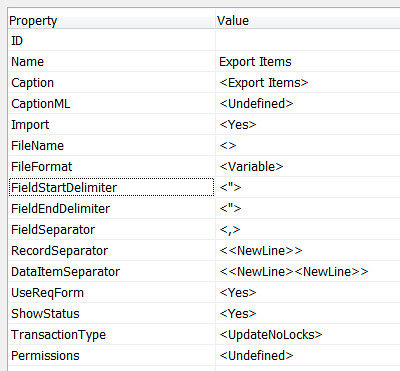 Default values for field delimiters