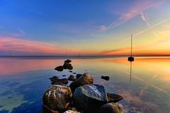 Sunday Morning 2 (dubdream) Tags: ocean blue sea sky orange seascape colour water germany landscape see boat nikon rocks meer ngc landschaft farbe hdr norddeutschland heiligenhafen d700 nikonflickraward flickrawardgallery dubdream