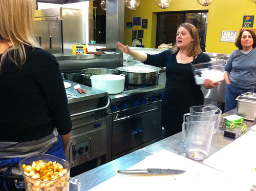 Marisa teaching us how to mix the sugar and pears correctly