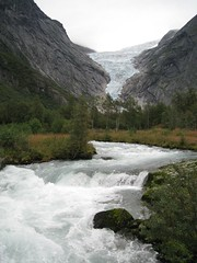 birth of river (VERUSHKA4) Tags: nord norway scandinavia travel summer river glacier nature scape mountain verdure water wave northcountry norwegian view vue august europe green tree grey