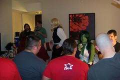 Room Party! (BelleChere) Tags: atlanta green costume geek cosplay bodypaint convention adamhughes marvel dragoncon shehulk comicbabescontest