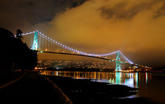 Lions Gate Bridge (K D Photos) Tags: bridge reflection water weather night vancouver bc cloudy northshore burrardinlet stanleypark lionsgatebridge scape hdr coalharbor ringexcellence dblringexcellence tplringexcellence eltringexcellence