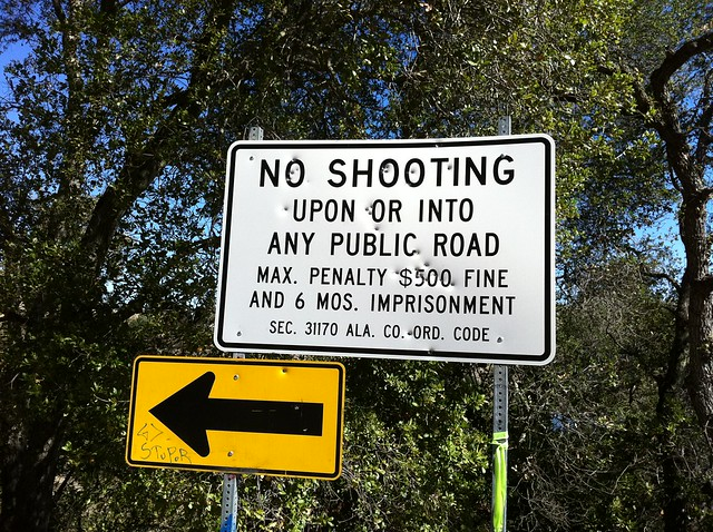 "Gun shots on ""No Shooting"" sign"