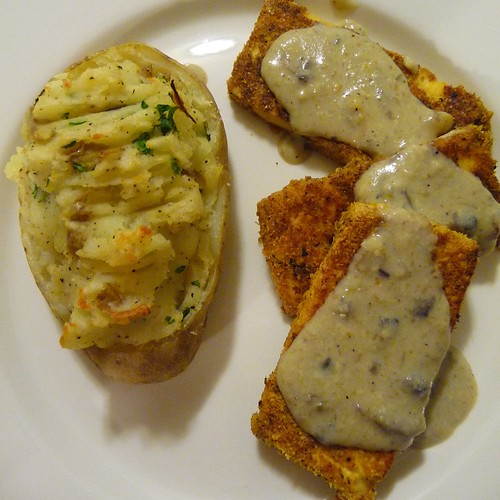 Breaded Tofu & Twiced Baked Potato