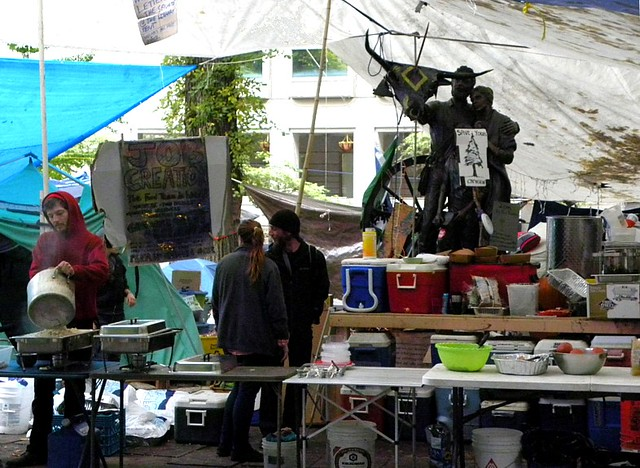 Kitchen at Occupy Portland camp (with Pioneer Family statue), Chapman Square, Portland, OR