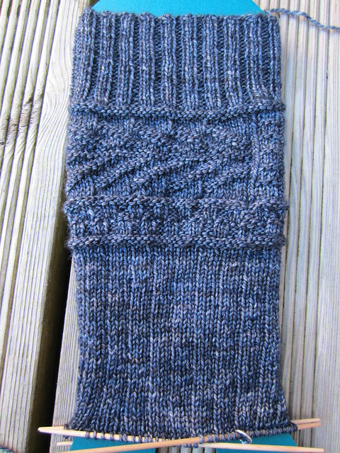 Fishbone Gansey sock WIP (1)