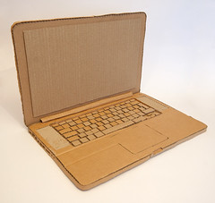 cardboard laptop (mark_obrien) Tags: sculpture apple computer mac guitar handmade laptop crafts craft cardboard