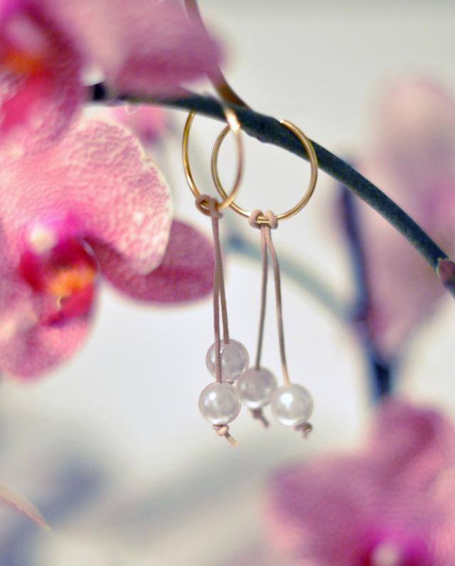 pearl and  leather  drop  hoop earrings diy