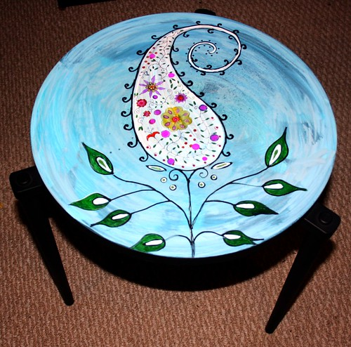 Paisley Plant on Vintage Table by Rick Cheadle Art and Designs