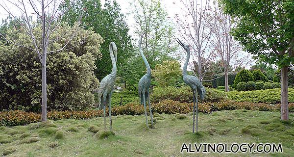 Majestic crane statues