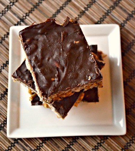 sunflower butter rice krispies with chocolate espresso layer