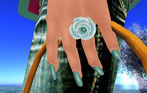 Donna Flora Aqua Rose Ring