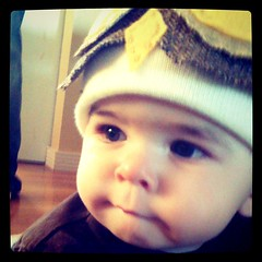 Sneak peek of Liam in his owl hat.