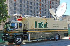 UniSat (So Cal Metro) Tags: news chevrolet television la losangeles tv media downtown satellite reporter chevy isuzu localnews newsvan tseries t7500 unisat