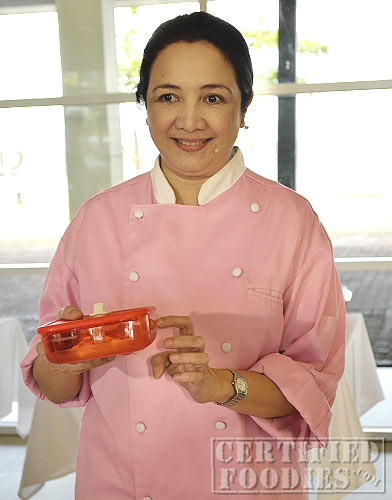 Chef Carol Lavin used Tupperware Heat N Serve to melt butter in the microwave