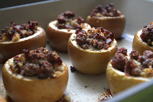 baked apples wth savory stuffing