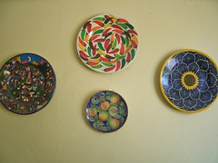 Plates (intothemoonlight) Tags: blue red people white green art yellow fruit mexico pepper shiny colorful aztec painted guadalajara jalisco sunflower plates porcelain chilis