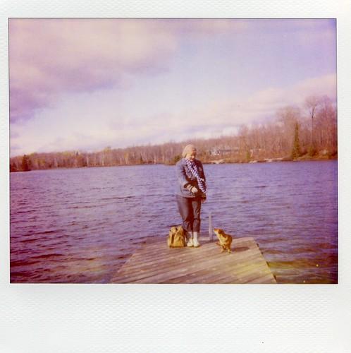 Polaroid: me & my dog at the dock