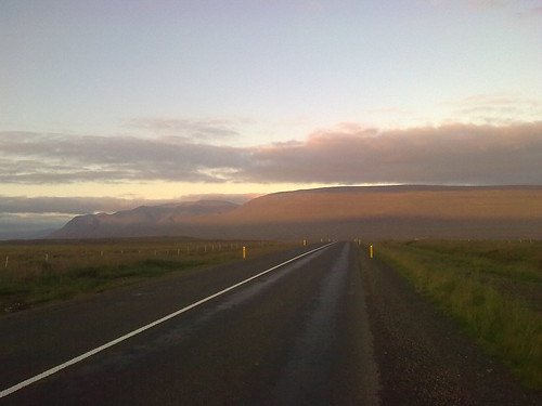 Dusk, heading for Vididal, northwest Iceland